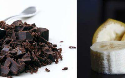 Noir désir, suave chocolat chiboust passion et bananes caramélisées