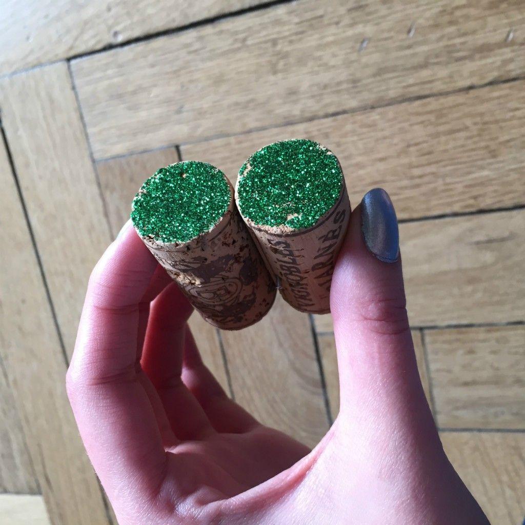 Bouchons paillettes vertes